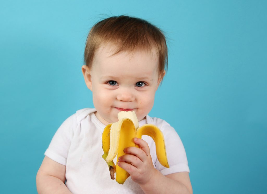Portrait of a cute baby eating a banana, on a blue studio background